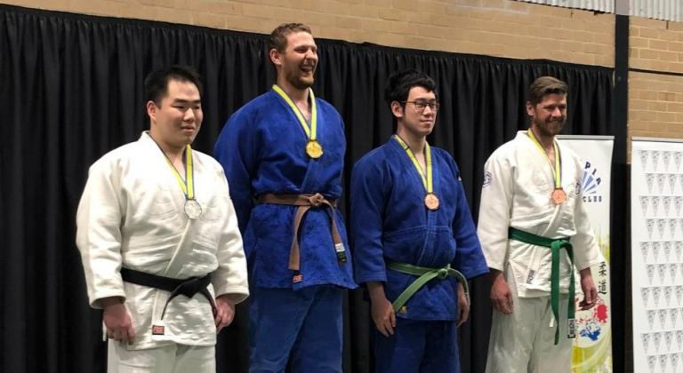 Judo competition medal ceremony