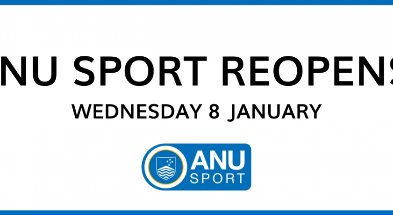 ANU Sport reopens Wednesday 8 January