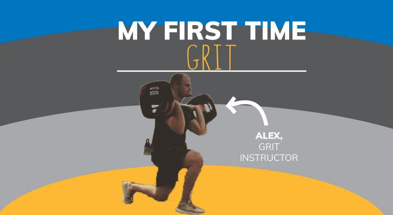 Image with man lifting weights. Arrow points to him with text saying 'Alex, GRIT Instructor'. Text on top says 'My First Time at GRIT' and background is yellow, grey and blue stripes