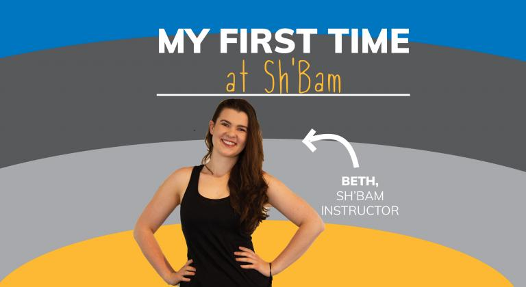 Image with smiling woman. Arrow points to her with text saying 'Beth, Sh'Bam Instructor'. Text on top says 'My First Time Sh'Bam' and background is yellow, grey and blue stripes