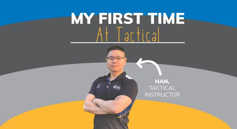 "Image with man crossing his arms. Arrow points to him saying ""Han, Tactical"", and text on top says ""My first time at Tactical"". Background is blue, grey and yellow stripes"