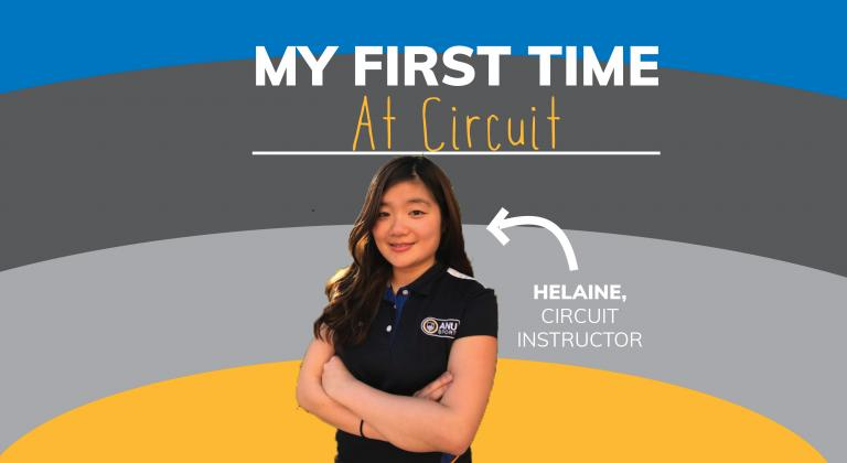 Image with smiling woman. Arrow points to her with text saying 'Helaine, Circuit Instructor'. Text on top says 'My First Time At Circuit' and background is yellow, grey and blue stripesf