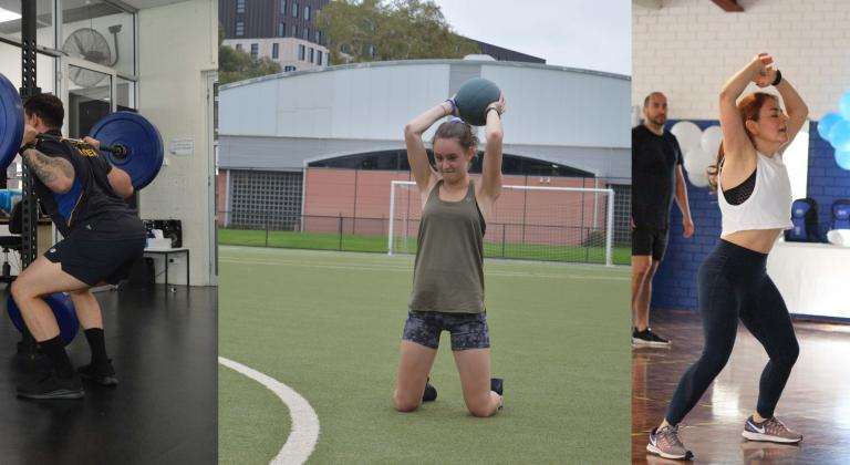 three panels: person weightlifting, person outside, group fitness class