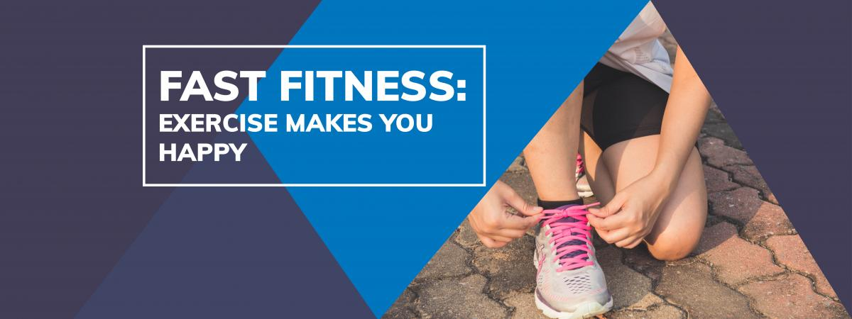 Blue and purple background. Person Tying Shoelace. Text says fast fitness